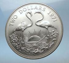 1971 The BAHAMAS SILVER 2 Dollars Large Coin Elizabeth II FLAMINGO Birds i68970