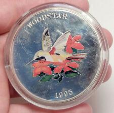1995 TURKS & CAICOS Huge 6.3cm Proof Silver 25 Crowns Coin Woodstar Bird i70694