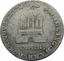 1797 GERMANY German States HAMBURG Antique Silver 4 Schilling Coin CASTLE i71774