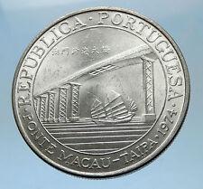 1974 MACAU Ponte Taipa Bridge w JUNK Ship of China Silver 20 Patacas Coin i68592
