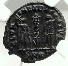 CONSTANS as CAESAR Authentic Ancient 335D Coin w ROMAN SOLDIERS NGC i76328