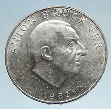 1962 AUSTRIA w Musician Anton Bruckner Genuine Silver 25 Schilling Coin i75141