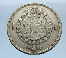 1942 SWEDEN King GUSTAV V ADOLF 1 Krona LARGE Silver SWEDISH Vintage Coin i69341