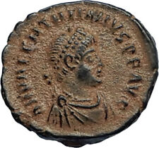 VALENTINIAN II Ancient 388AD Antioch Roman Coin w VICTORY ANGEL & CROSS i67127