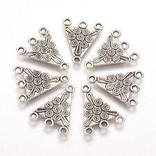 10pcs Tibetan Alloy Triangle Chandeliers Dangle Earring Findings Silver 22x17mm