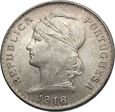1916 PORTUGAL Antique BIG Silver 50 Centavos PORTUGUESE Coin  w LIBERTY i71193