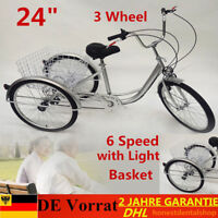 "Trike Adulte 6 vitesses 24"" Tricycle Bicycle de vélo+panier+lampe AS Gift Silver"