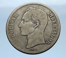 1945 Freemason President Simon Bolivar VENEZUELA Founder Silver Coin i69343