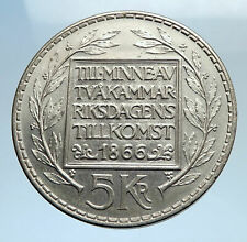 1966 SWEDEN King GUSTAV VI ADOLF Silver SWEDISH Coin CONSTITUTION Signing i74105