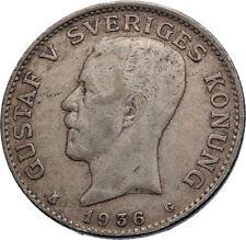 1936 Sweden GUSTAF V Silver Krona Crowned ARMS Antique Vintage Coin i71963