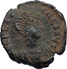 AELIA FLACILLA Theodosius I Wife 383AD Ancient Roman Coin VICTORY CHI-RHO i67525