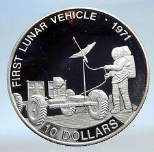 1992 SOLOMON ISLANDS Lunar Vehicle NASA Moon Landing Proof Silver 10 Coin i74264