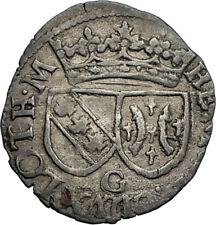 1608 Duchy of Lorraine France Antique Silver Denier French Coin Henry II i66734