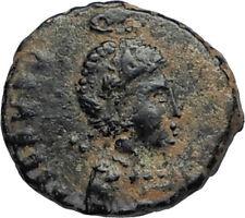 EUDOXIA Arcadius Wife 400AD Authentic Ancient Roman Coin GOD's HAND CROSS i67470