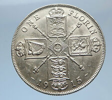 1915 United Kingdom Great Britain GEORGE V Silver Florin 2 Shillings Coin i69416