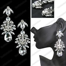 Clip On Chandelier Earrings Rhinestone Crystal Vintage Chic Large Clips