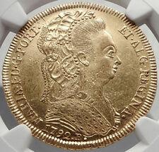 1791 BRAZIL Queen MARIA I Antique GOLD 6400 Reis Brazilian Coin NGC MS i70401