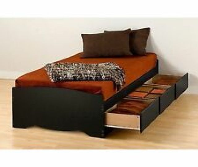 Prepac Twin Xl Mate S Platform Storage Bed With  Drawers Black