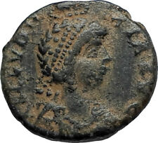 EUDOXIA Arcadius Wife 400AD Authentic Ancient Roman Coin GOD's HAND CROSS i67116