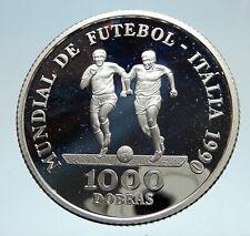 1990 SAO TOME AND PRINCIPE FIFA World Cup Football Italy Silver Coin i75228