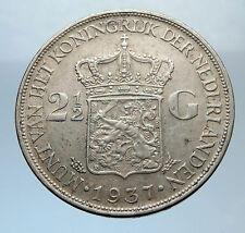 1937 Netherlands Queen WILHELMINA 2.5 Gulden Authentic DUTCH Silver Coin i71907