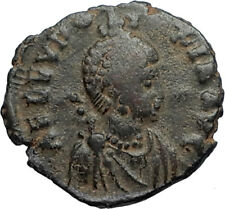 EUDOXIA Arcadius Wife 401AD Authentic Ancient Roman Coin VICTORY CHI-RHO i67279