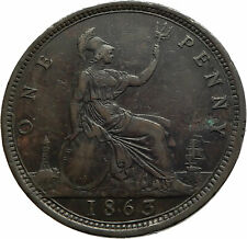 1863 UK Great Britain United Kingdom QUEEN VICTORIA Genuine Penny Coin i76766