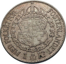 1936 Sweden GUSTAF V Silver Krona Crowned ARMS Antique Vintage Coin i71966