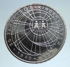 1999 Germany SOS Children Development Antique Silver 10 Mark German Coin i74987