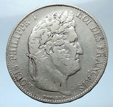 1845 FRANCE King Louis Philippe I French Antique Silver 5 Francs Coin i73916