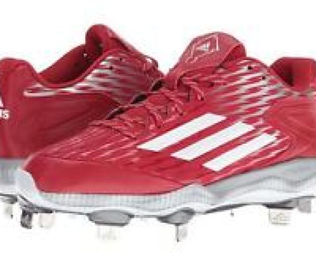 New Womans Sz 7 5 Adidas Power Alley 3 Metal Softball Baseball Cleats Red