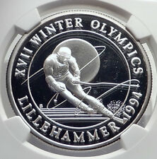 1993 TURKS & CAICOS Silver 20 Crowns Lillehammer Olympics SKIER NGC P69 i72131
