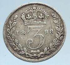 1898 UK Great Britain United Kingdom QUEEN VICTORIA 3 Pence Silver Coin i74339