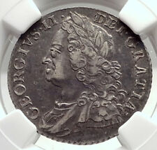 1758 GREAT BRITAIN UK King GEORGE II Silver Shilling Antique Coin NGC i73306