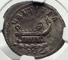POSTUMUS 261AD Gallic Ancient Silver Roman Coin w GALLEY Cologne NGC i70403