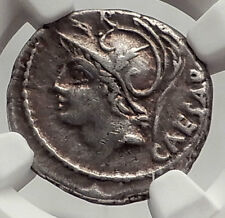 Roman Republic JULIUS CAESAR Family Ancient Silver Coin VENUS & CUPID NGC i62470