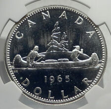 1965 CANADA UK Queen Elizabeth II Canoe Large Silver Dollar Coin NGC i77255