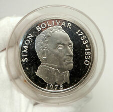 1975 PANAMA Huge 6.2cm Proof Silver 3.8oz 20 Balboas Coin w SIMON BOLIVAR i76339
