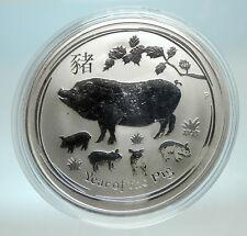 2019 AUSTRALIA Elizabeth II Chinese Zodiac Pig Year Genuine Silver Coin i76591