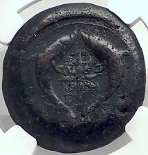 SYRACUSE SICILY 375BC Athena Dolphins Drachm Litra Ancient Greek Coin NGC i77288