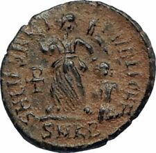 VALENTINIAN II Ancient 388AD Antioch Roman Coin Staurogram VICTORY ANGEL i67126