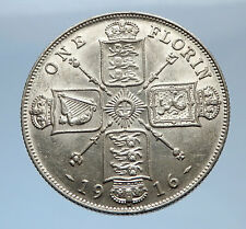 1916 United Kingdom Great Britain GEORGE V Silver Florin 2 Shillings Coin i69402