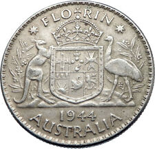 1944 AUSTRALIA - FLORIN Large SILVER Coin King George VI Coat-of-Arms i71925
