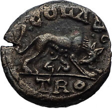 ALEXANDRIA Troas Authentic Ancient 3rdCenAD Greek Coin w SHE Wolf & Twins i66925