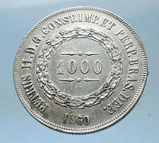 1860 BRAZIL Silver 1000 Reis Antique Brazilian Coin w Coat-Of-Arms i68577