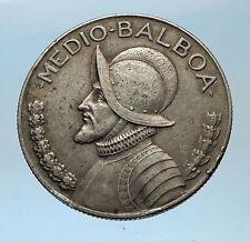 1930 PANAMA BIG 3cm Silver CONQUISTADOR Half BALBOA Central America Coin i68586