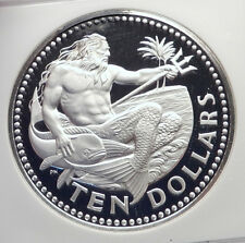 1973 BARBADOS Proof HUGE 4.2cm Silver 10 Dollars Coin w NEPTUNE NGC i72142
