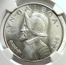 1947 PANAMA Large Silver CONQUISTADOR BALBOA Coin NGC Certified MS 63 i71310