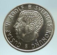 1959 SWEDEN King GUSTAV VI ADOLF 2 Kronor LARGE Silver SWEDISH Coin i76781