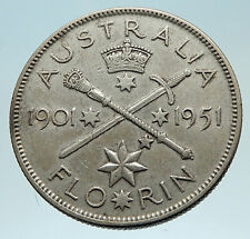 1951 AUSTRALIA King George VI 50th Anniv LARGE Genuine Silver Florin Coin i76207